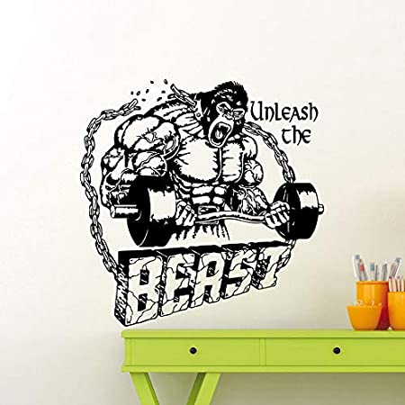 Tianpengyuanshuai Etiqueta de la Pared del Gimnasio Bestia Fitness Cita inspiradora Pegatina de Vinilo Ejercicio físico Inspirador 63X63cm