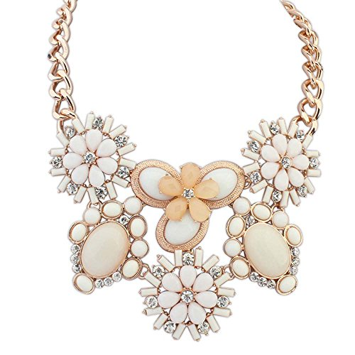 The Starry Night Oval Petal Pure And Fresh Sweet Candy Color Gold Plated Flower Beige Statement Necklace For Womens Girls (Knob Petal Flower Design)