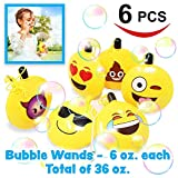 6 Bubble Wands Emoji (36 oz.Total) Bulk Bubble Bottles with 6 different Emotions, Super Value Party Supplies Favors, Toys Gifts for Kids, Birthday Party, School Classroom rewards and Carnival Prizes