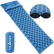 """Sleeping Pad Camping Tolaccea Double-Layer Air Mattress 3"""" Thick Durable Lightweight Waterproof Hiking Pa"""