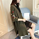 UNKE Women's Casual Open Front Embroidery Long Sleeve Knitted Sweater Cardigan,ArmyGreen