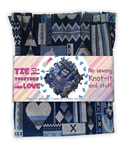 No sew Tie a pillow kit, Knot-it and Stuff, Precut fabric and stuffing, DIY craft project Selfme by DADM