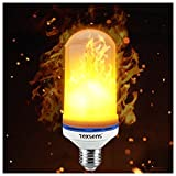 #4: Texsens LED Flame Effect Light Bulb, E26 LED Flickering Flame Light Bulbs, 105pcs 2835 LED Beads Simulated Decorative Light Atmosphere Lighting Vintage Flaming Light Bulb for Bar/ Festival Decoration