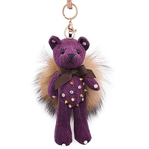 Fur Rivet Bear Ball Pompom Car Keys Bag Charm Key Chain Hook Pendant Keychain -