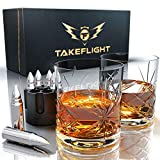 Whiskey Glasses and Whiskey Bullets - Premium Whiskey Glass Set, 2 Ornate Style Glasses for Scotch or Bourbon in Gift Box | Stainless Steel Whisky Stones Shaped Like Bullets | Bar Set for Man Cave