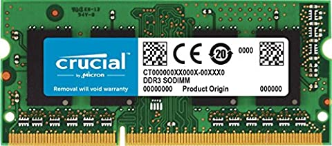 Crucial 4GB Single DDR3/DDR3L 1600 MT/s (PC3-12800) Unbuffered SODIMM 204-Pin Memory - - 810 Series Notebooks