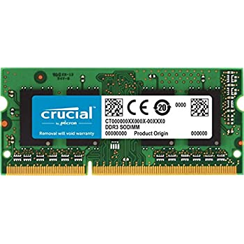 Crucial 2GB Single DDR3/DDR3L 1600 MT/S (PC3-12800) Unbuffered SODIMM 204-Pin Memory - CT25664BF160B