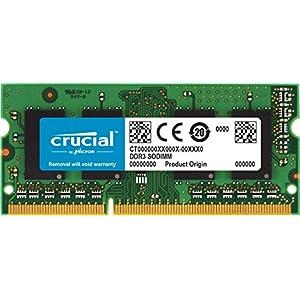 Crucial 4GB Single DDR3/DDR3L 1600 MT/S (PC3-12800) Unbuffered SODIMM 204-Pin Memory - CT51264BF160B