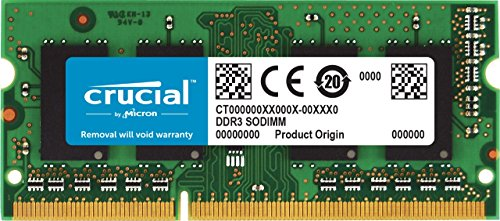 - Crucial 4GB Single DDR3/DDR3L 1600 MT/S (PC3-12800) Unbuffered SODIMM 204-Pin Memory - CT51264BF160B