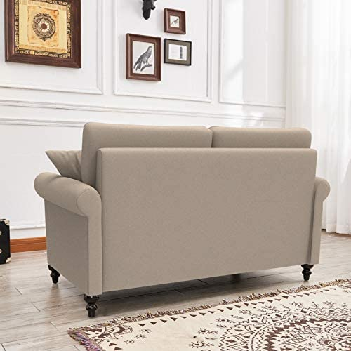 MASTI Small Loveseat Sofa Modern Couches for Living Room,Fabric Love Seats Furniture for Small Spaces,Bedroom,Office with Turned Solid Wood Leg and Scrolled Arms (Beige)