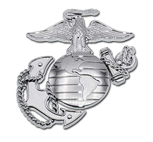 Elektroplate Marines Premium Anchor Silver Chrome Auto Emblem