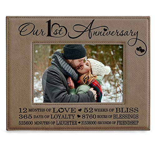 Kate Posh Our First (1st) Anniversary Engraved Leather Picture Frame - Gifts for Couple, Gifts for Him, Gift for Her, Paper, Photo Frame, First Wedding (4x6-Horizontal) (Best Gift For 1 Year Anniversary Girlfriend)