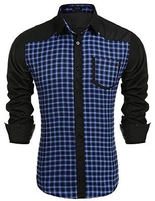 Coofandy Mens Slim Fit Plaid Long sleeve Button Down Casual Shirt