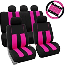 FH GROUP FH-FB036115 + FH GROUP FH2033 Combo Set: Striking Striped Seat Covers with Premium Carpet Floor Mats Pink / Black Color- Fit Most Car, Truck, Suv, or Van