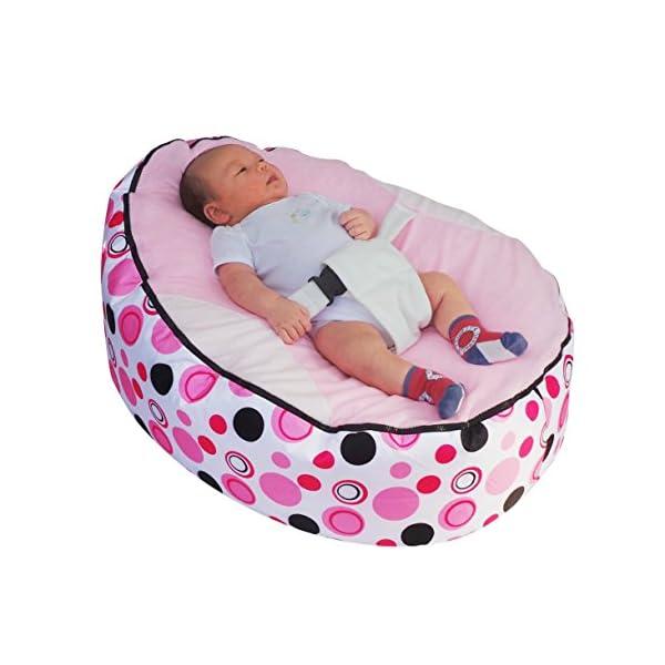 Mama Baba bébé bean bag blottir lit videur avec harnais de sécurité et 2 déhoussables rose 1
