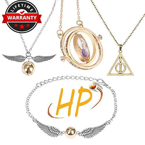 Cerekony Necklace Merchandise for HP Fans, Time-Turner Death-Hallows Golden-Snitch Necklace Bracelet Jewelry Set Best Gift for Boys, Daughter, Girls, Women 4 Pcs from Cerekony
