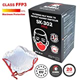 Made in EU Respirator Dust Mask FFP3 | Pack of 20 | Bacteria, Virus, Dust, Smog, Allergy - 99.9% protection NANOFIBER Cup Mask Disposable Fine Breathing Filter Half Face Masks