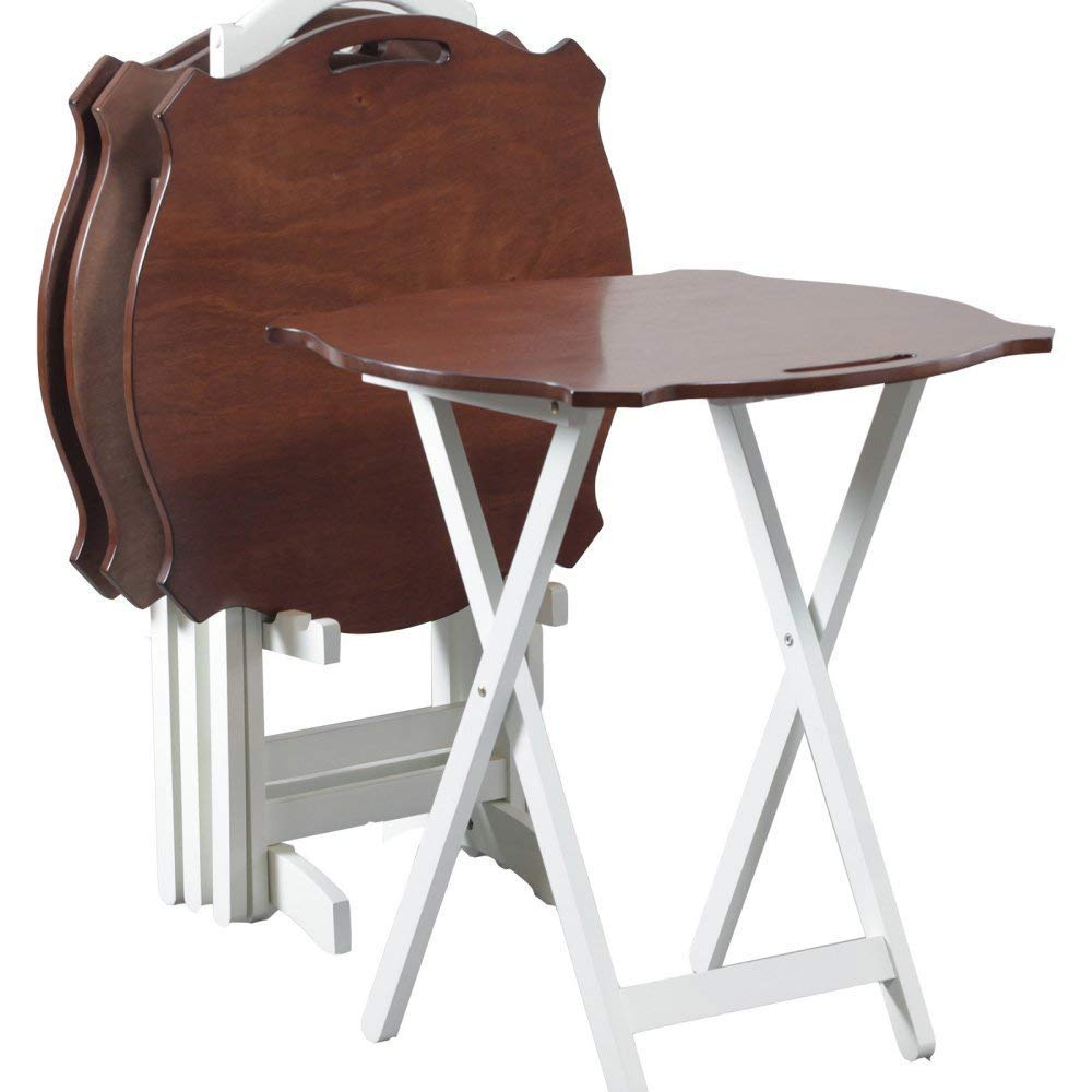 Powell's Furniture 15A8088TT-2 Laptop Folding Modern Tray Table, White with Hazelnut Top, (Renewed) by Powell's Furniture