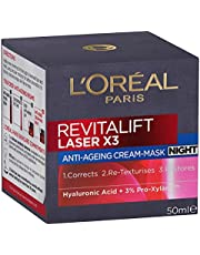 L'Oréal Paris Revitalift Laser X3 Anti-Ageing Night Cream, with Pro-Xylane, Dermatologically Tested, 50ml