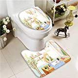 Printsonne 2 Piece Toilet mat set A literary maiden reading a book by the window Absorbent Cover