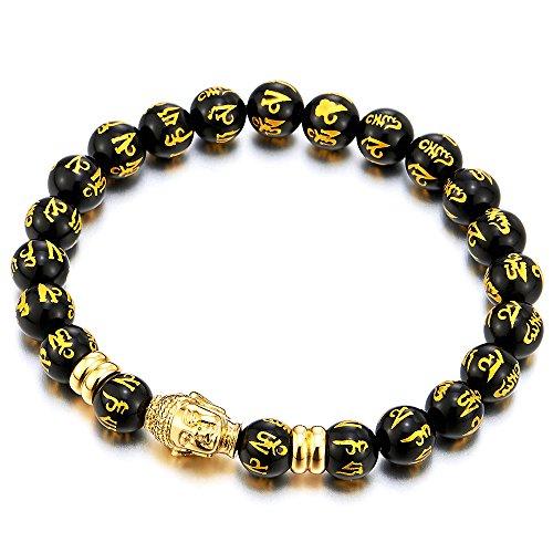Men Women Black Tibetan Beads Steel Gold Buddha Bracelet, Mantra Om Mani Padme Hum Buddhist (Mantra Prayer Box)