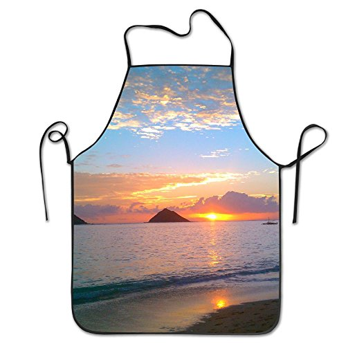 Pacific Sunrise Bib Apron For Women And Men - Adjustable Neck Strap - Restaurant Home Kitchen Apron Bib For Cooking, Grill And Baking, Crafting, Gardening, - Airport Sunrise