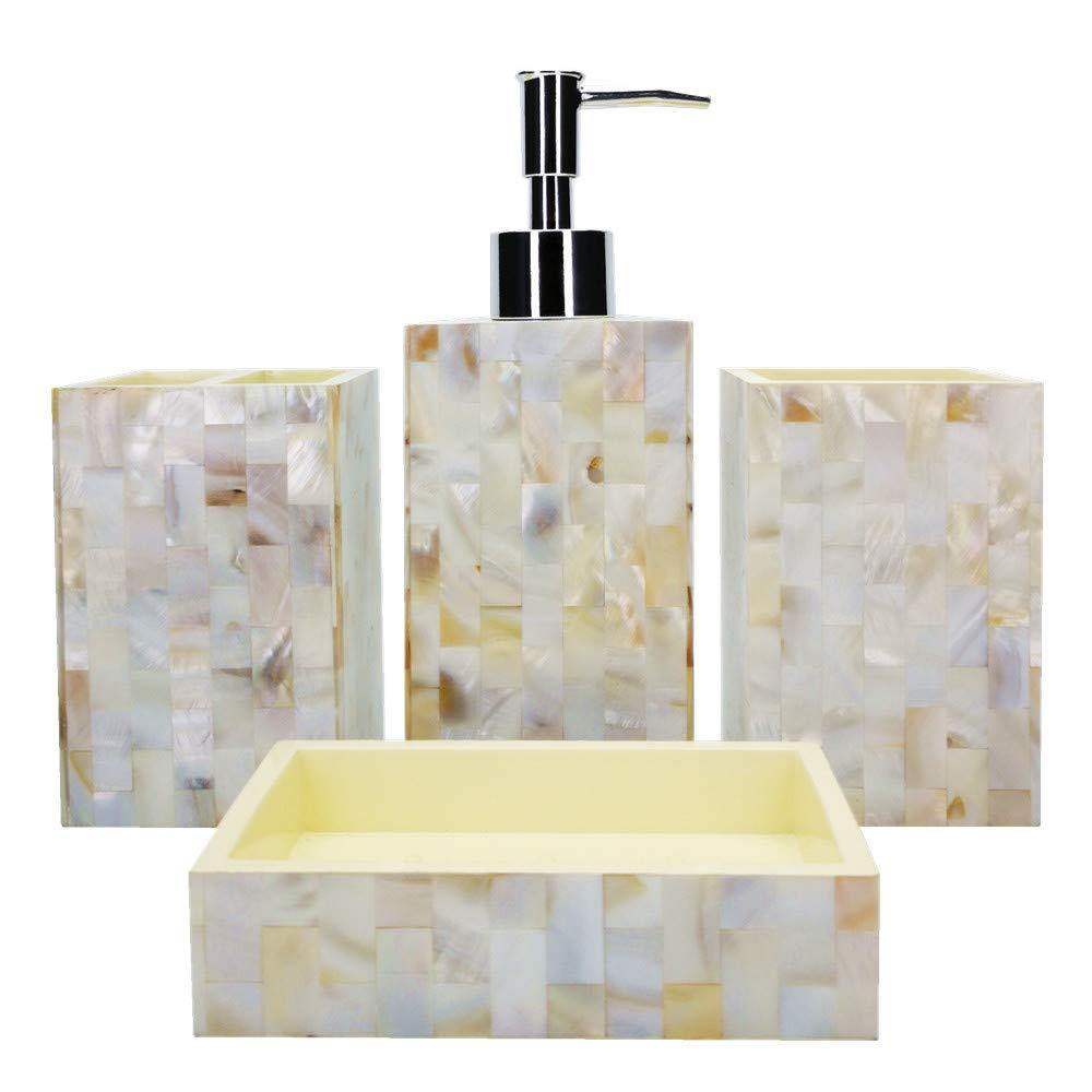 ZHITOP Ensemble Bath Accessory Set,4 Piece Bath Ensemble, Bath Set Collection Features Soap Dispenser Pump, Toothbrush Holder, Tumbler, Soap Dish(Brown Sea) ZHITUO