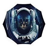 Travel Umbrella,Space Cat,Auto Open Close Umbrella 45 Inch,Kitty in Space Suit Loking From Rocket in Galactic Space Orbit Artwork