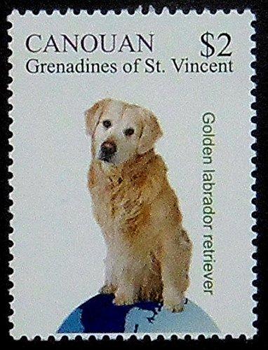 Golden labrador retriever dog -Handmade Framed Postage Stamp Art 1252AM