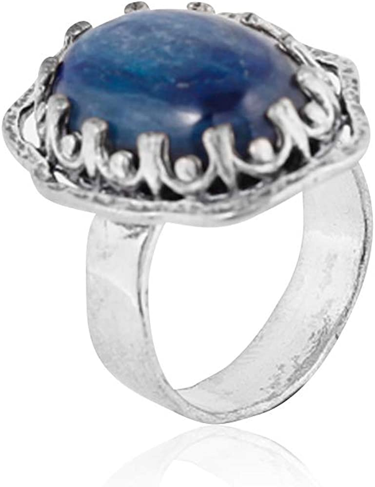PZ Paz Creations Cocktail Ring for Women Girls   Sterling Silver Decorated Bezel Design Oval-Shaped Gemstone   Kyanite or Malachite