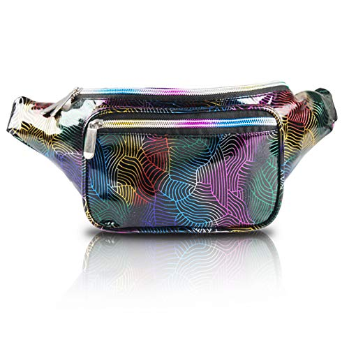 PURE HEART Fashion Holographic Fanny Pack for Women and Men 80s Cute Waist Bag with Adjustable Strap for Running,Hiking,Festival Party,Rave,Travel (Neon)