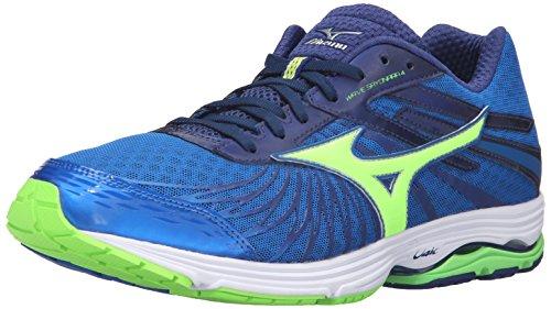 Mizuno Men's Wave Sayonara 4 Running Shoe, Skydiver/Black/Green Gecko, 10.5 D US ()