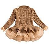 Girls Tutu Sweater Dress Cable Long Sleeve Ruffle Featuring Chunky Jumper Brown Size 4-5 T
