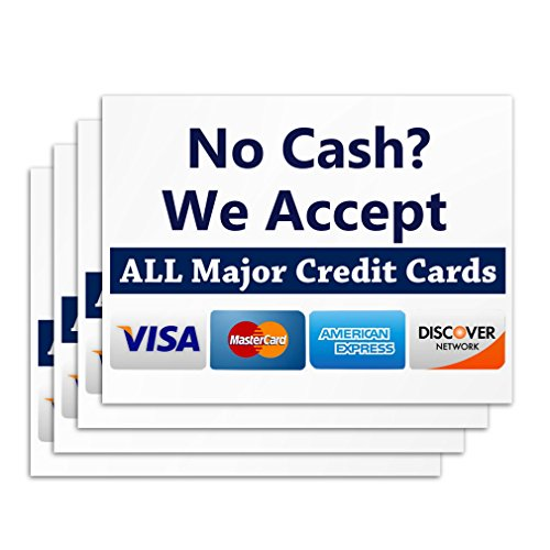Accept Credit Card Sign - 4 Pieces - Rust Free - Clear & Visible Text - Light Tough Long-Lasting - Easy To Install Business Signs - Perfect For Shop Cafe Store Restaurant Or Office from Kaba Flair