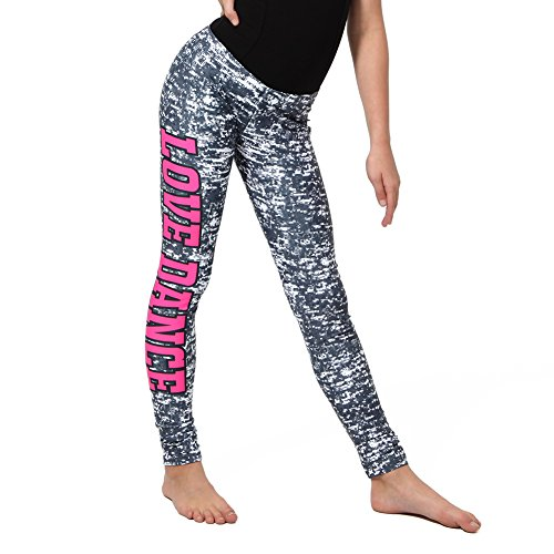 Alexandra Collection Youth Grey Love Dance Athletic Leggings