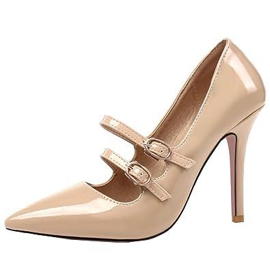 COOLCEPT Damen Party Schuhe Stiletto Spitze Zehe Pumps Ankle Strap Black Size 43 Asian yQU1351