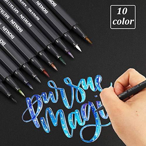Metallic Brush Marker Pens - Set of 10 Colors, Art Marker for Black Paper, Brush Lettering, Scrapbook, Card Making, DIY Photo Album (Brush Tip)