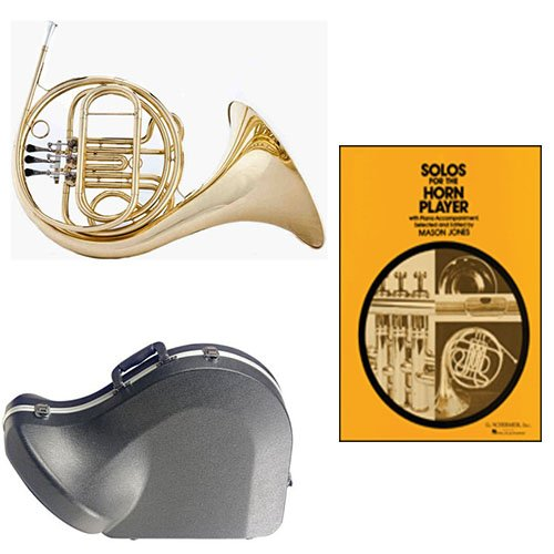 Band Directors Choice Single French Horn in F - Solos for the Horn Player Pack; Includes Student French Horn, Case, Accessories & Solos for the Horn Player Book by French Horn Packs