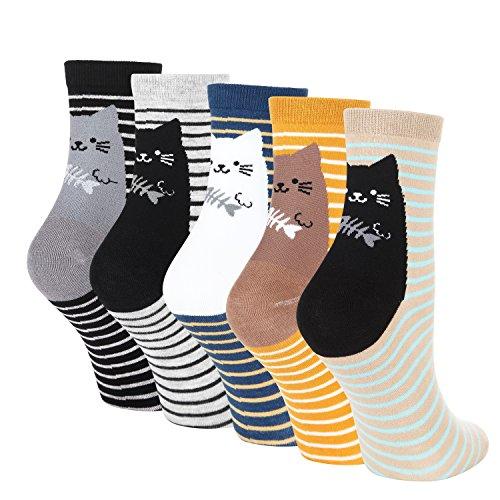 LOTUYACY Womens Girls Cute Animal Casual Socks Comfort Funny Cotton Crew Socks 4 Or 5 Pack (Stripe Cat-5 Pairs)