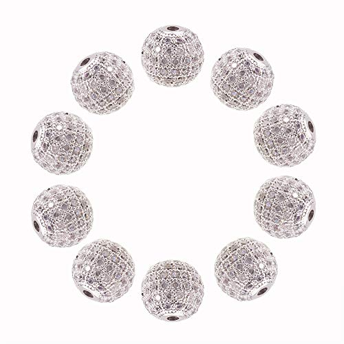 NBEADS 10PCS 10mm Platinum CZ Brass Clear Crystal Micro Pave Cubic Zirconia Round Beads Bracelet Connector Charms Beads for Jewelry Making