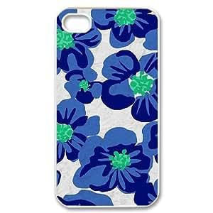 Blue Flowers Unique Design Cover Case for Iphone 4,4S,custom case cover612620