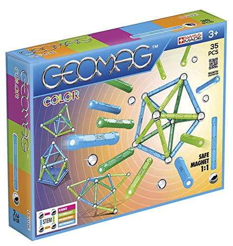 - Geomag - COLOR - 35-Piece Magnetic Building Set, Certified STEM Construction Toy, Safe for Ages 3 and Up (Renewed)