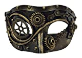 KBW Global Corp Steampunk Half Eye Mask Adult Gears Robotic Venetian Costume Accessory Gold