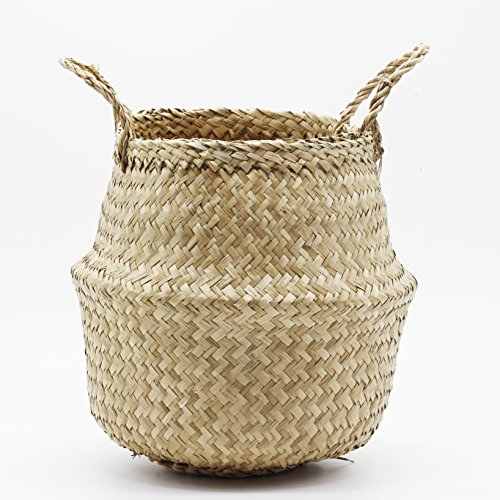 Natural Craft Small Seagrass Belly Basket for Storage, Laundry, Picnic, Plant Pot Cover, and Woven Straw Beach Bag