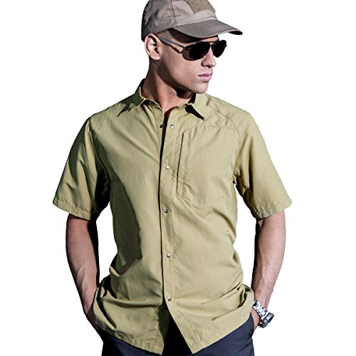 Nylon Ripstop Tactical Shirt - FREE SOLDIER Men's Shirts Outdoor Nylon Breathable Quick-Drying Short Sleeve Tactical Shirt (Mud Color, XL)