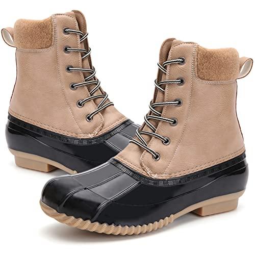 Women's Winter Duck Boots Waterproof Rain Snow Boots for Cold Weather, P07-Beige, 7.5