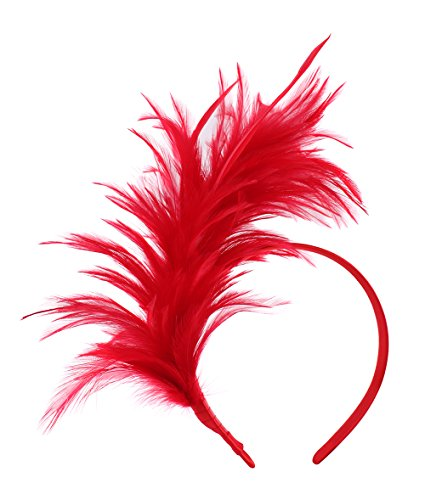 Felizhouse 1920s Fascinator with Feathers Headband for Women Kentucky Derby Wedding Tea Party Headwear, Christmas Red, One Size]()