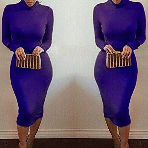 cuello de atractivo Azul largo Juleya mujeres alto del Bodycon del las del cuello vendaje del Vestido abrigo del Bodycon vestido del del 6n1RaTdwTq