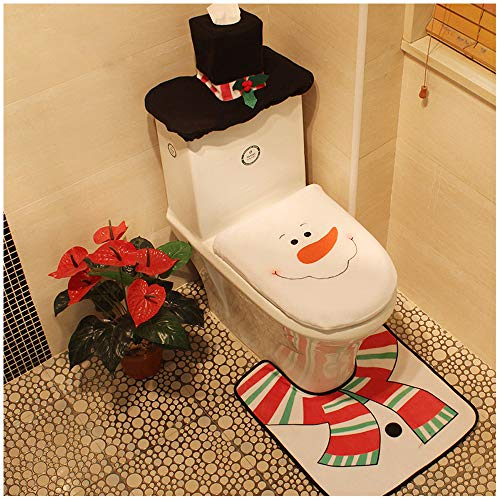 Snowman Santa Toilet Seat Cover Tissue Box Cover Tank Lid Cover and Rug Set Merry Christmas Decorations Fancy Bathroom Plush Felt Cute Festival Decor for Home Hotel Party Supplies Pack of 3 Snowman