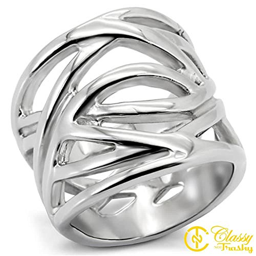 Classy Not Trashy Women's Fashion Jewelry Ring, Premium Grade Stainless Steel Webs Ring Size 7
